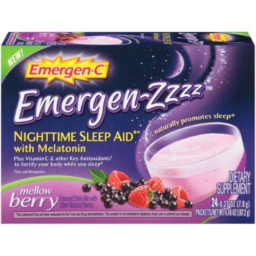 Emergen-C Zzzz Nighttime Sleep Aid with Melatonin Powder, Mellow Berry, 0.27 Oz, 24 Ct