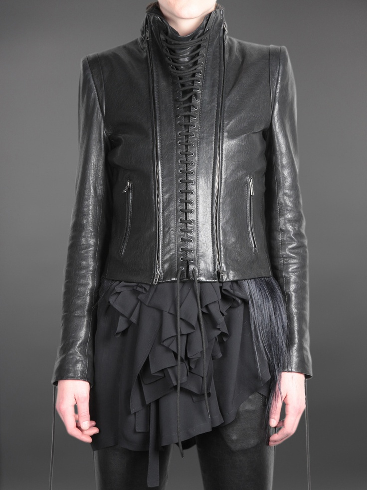 Oh my god! Ann Demeulemeester short leather jacket with lace details on sleeves and detachable front part.