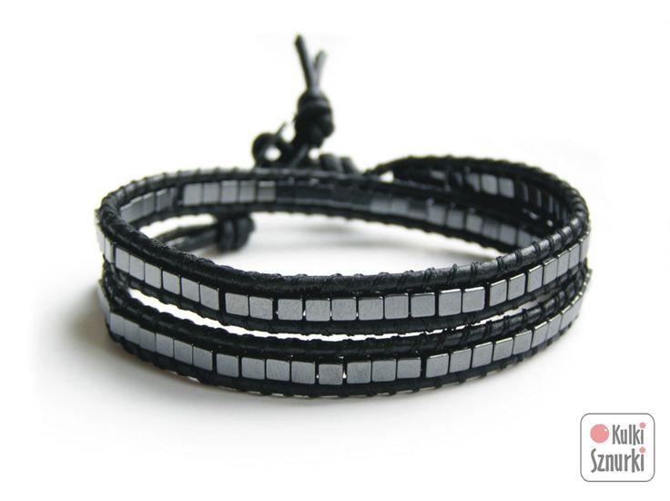 www.facebook.com/... Kulki Sznurki-biżutera personalizowana. Handmade jewellery. Wrap bracelets on leather #bracelet #bransoletka #hematyt #hematite #walentynki #valentinesday #prezenty