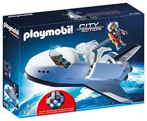 Playmobil – 6196 – Navette spatiale et spationautes: Navette spatiale avec spationautes. Avec deux astronautes et deux canons embarqués…