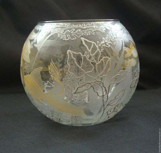 Ваза роспись по стеклу золотые рыбки ваза с рыбками как аквариум декоративные золотые рыбки рисунок на стекле недорогой подарок конфетница с золотыми рыбками роспись вазы