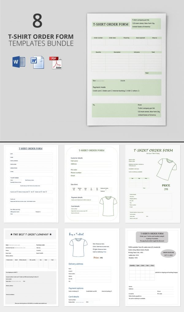 Freebie of The Day - T-Shirt Order Form Templates