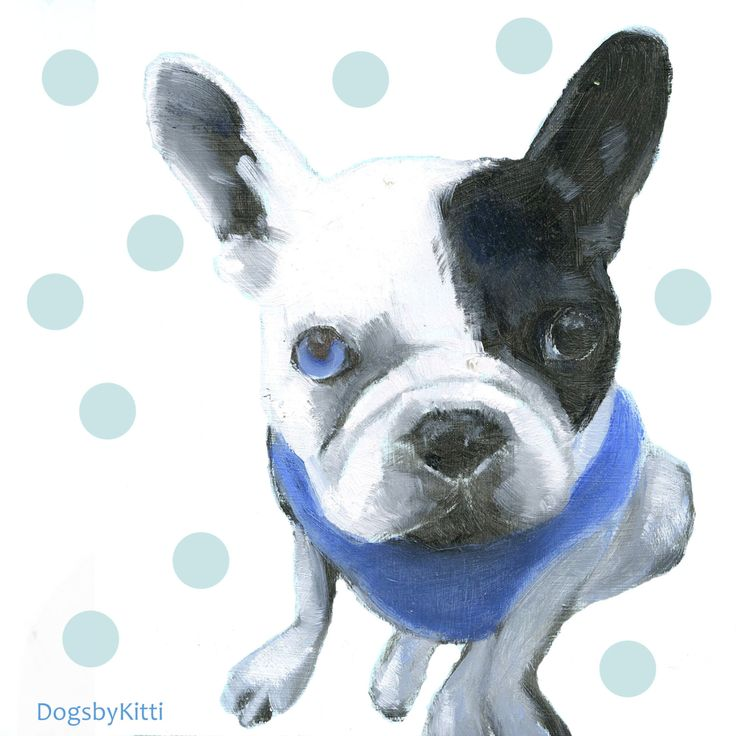 French Bulldog with dotted - digital Art Print on fine art PAPER or CANVAS by DogsbyKitti on Etsy