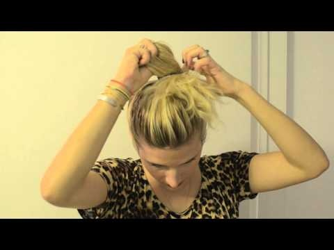 """Kate Albrecht demos an hair up-do she calls """"The Crumpet"""" for her blog www.mrkate.com. A quick and easy beauty tutorial for a messy hair day. A ponytail and bun in one... and it looks like a tasty pastry!"""