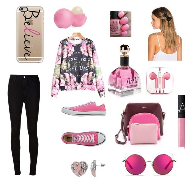 """Pink♥"" by timeadivekyova on Polyvore featuring Converse, AG Adriano Goldschmied, Furla, Casetify, Lelet NY, PhunkeeTree, Matthew Williamson, Eos, NARS Cosmetics and OPI"