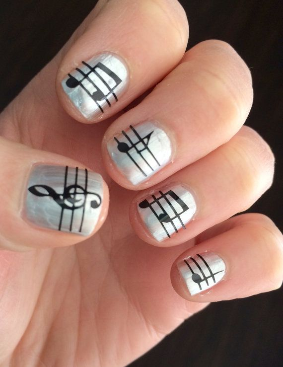 Jazz up your manicure with the adorable music note nail decals!    These nail decals are made from durable vinyl with a strong adhesive. They will