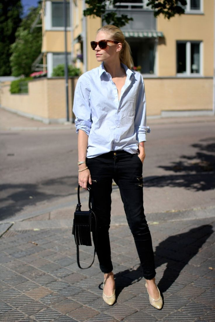 blue shirt, black jeans