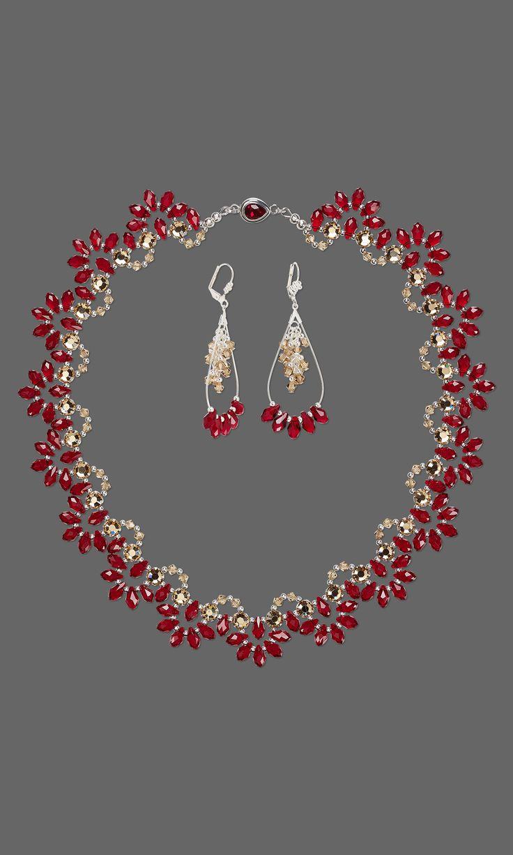 Schmuckdesign - Single-Strang-Halskette und Ohrring-Set mit Swarovski Kristall und versilberten Messing Entdeckungen - Fire Mountain Gems und Perlen