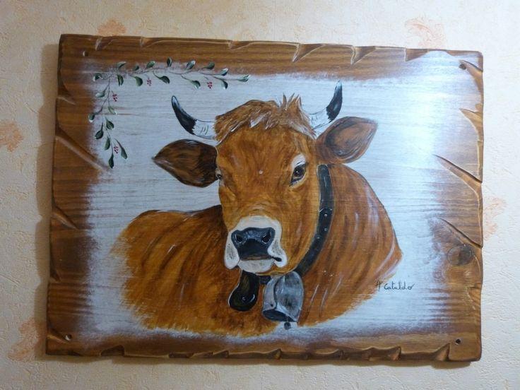 Tableau peinture vache tarine de nos montagnes deco chalet Déco et Chalets # Peinture Chalet Bois