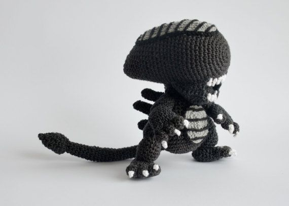 **Please note, this listing is for the PATTERN only, not the finished toy!** Crochet alien, when finished, is 21 cm tall (8.2 inches). Alien franchise was one of the movies that made a huge impact on me when I was younger. I love the whole series, always had and always will, and as a huge fan I am so proud to present my newest creation - alien. After making he went straight to my private display and I am not giving him to anyone, anyone! :) I think he is scary with just a hint of cuteness…
