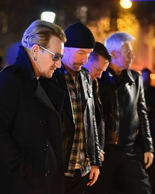 U2 [Paris, 2015] VIA: Getty Images / Mitchell #U2 #prayforparis #paris #france #bataclan #Bono #BonoVox #TheEdge #AdamClayton #LarryMullenjr