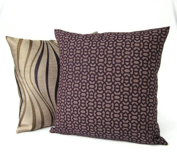 16x16 Throw Pillow Covers Plum Purple Brown by #GigglesOfDelight on Etsy Pillow Fight ...