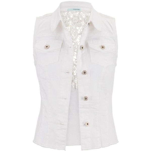 maurices Lace Back White Denim Vest ($34) ❤ liked on Polyvore featuring outerwear, vests, jackets, tops, white, maurices, white denim vest, denim waistcoat, white waistcoat and denim vest