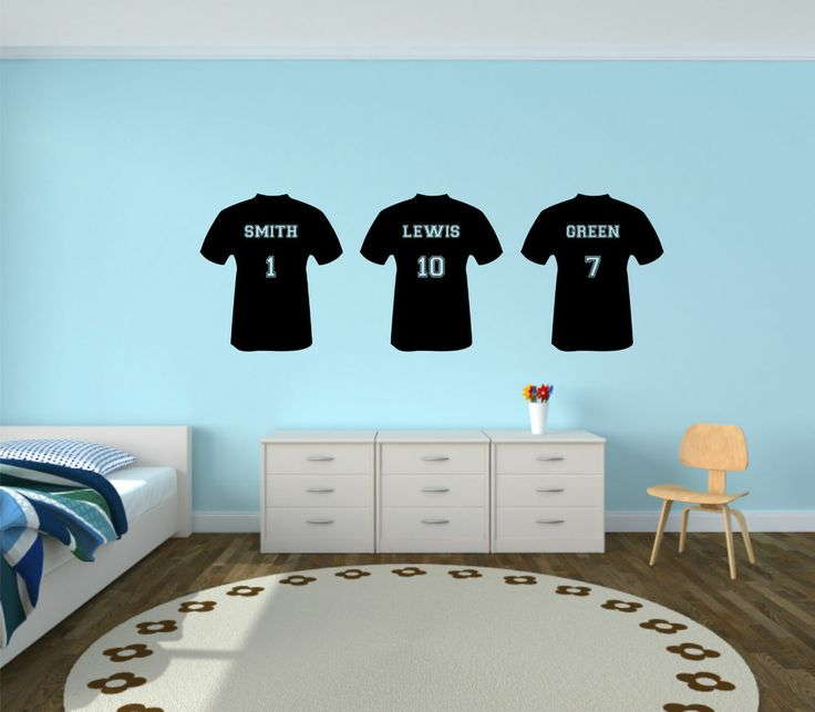 Personalised football t shirt vinyl wall sticker boys bedroom kids custom team