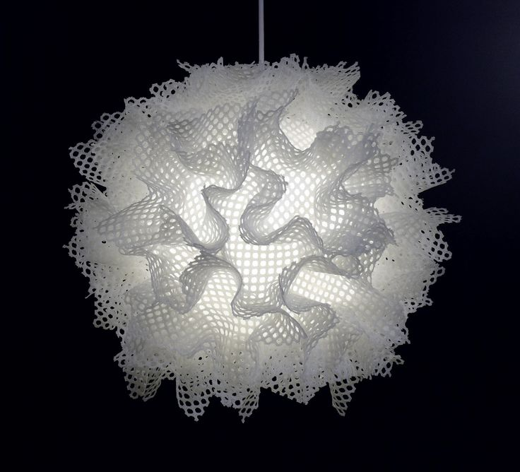 Bone Puff by Josh Urso. A sculptural pendant lamp of resin-treated fabric arranged into a spherical burst. Uses a 23-watt compact fluorescent bulb (included). Lamp comes with an 8'L cord for hanging. Hardware included. Professional installation recommended.