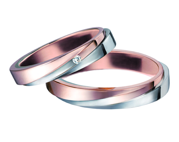 Pink gold mixed with white gold wedding rings, made in italy