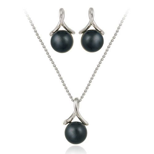Sterling Silver Simulated Gray Pearl w/ CZ Twist Pendant & Earrings Set SilverSpeck.com. $34.99. Save 61%!