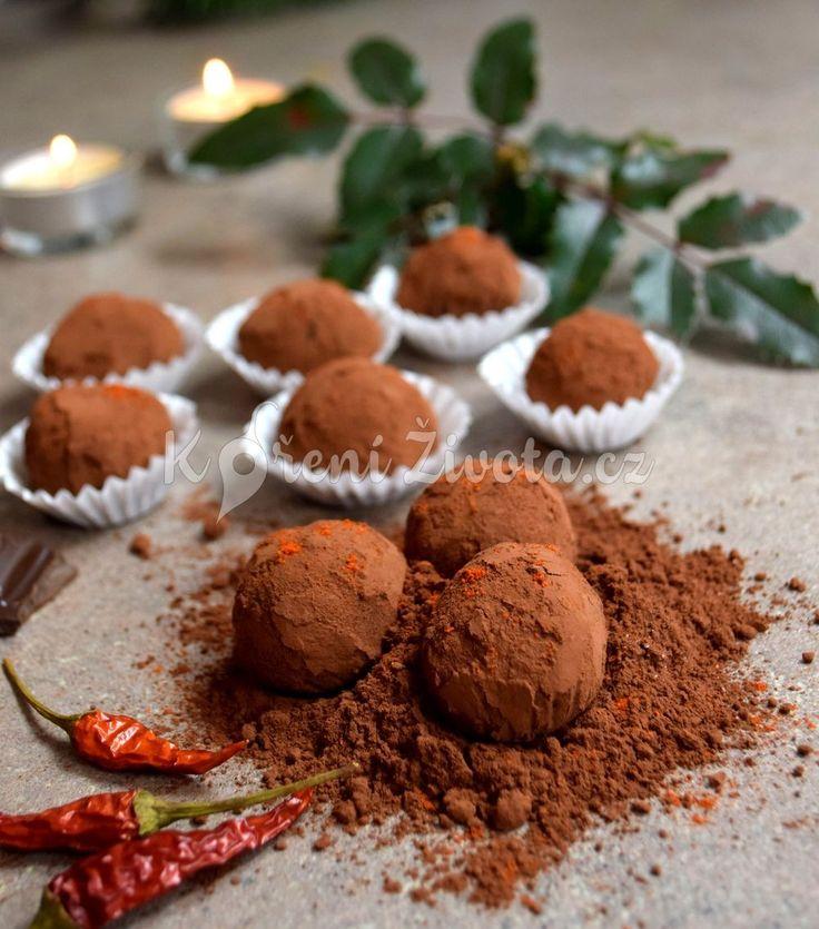 Recept na truffles z mléčné čokolády s brandy a chilli