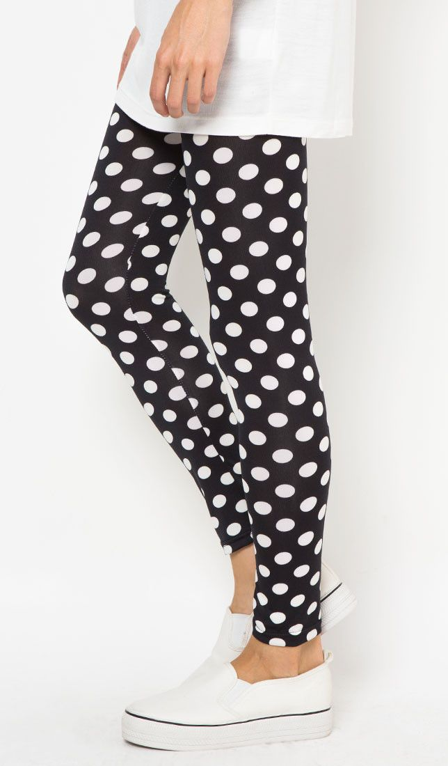 Polkadot Legging by Red Lips Bottoms. Polkadot legging with black color and white dot, stretchable, cute legging that will  brighten up your day, pair it with plain t-shirt and sneakers. This polkadot legging will be your next favorite legging.   http://www.zocko.com/z/JFev4