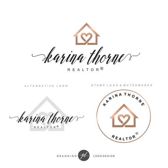 Awesome Rose Gold Real Estate Logo Design House And Heart Logo Home Interior And Landscaping Pimpapssignezvosmurscom