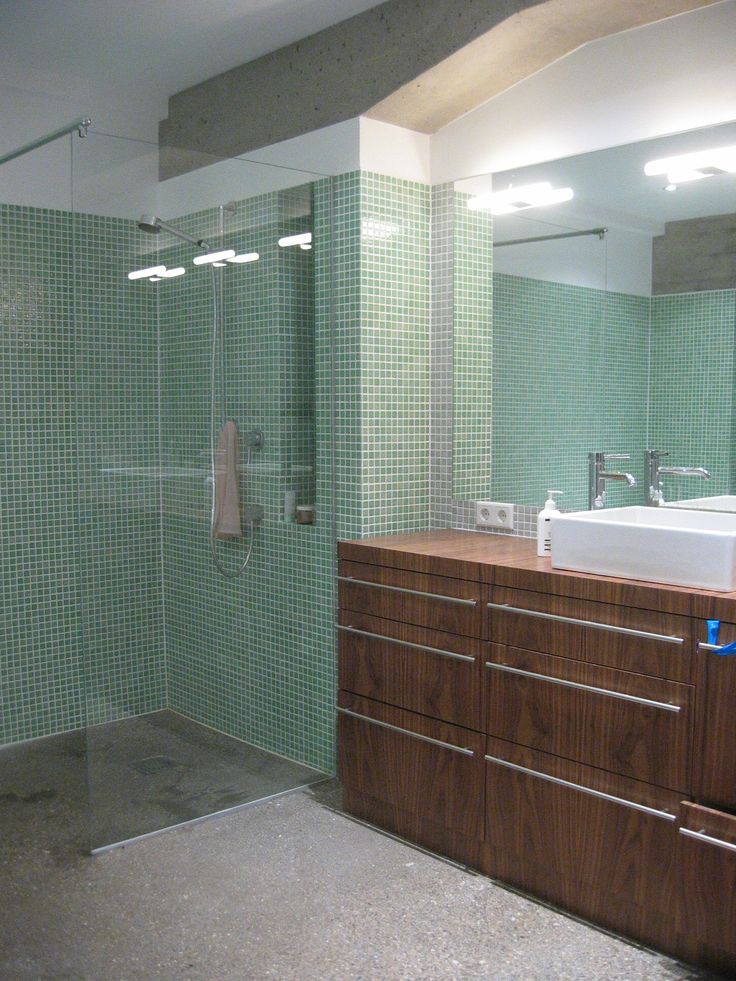 Picture Collection Website bathroom polished concrete floor mosaic tiles exposed concrete beams walnut vanity