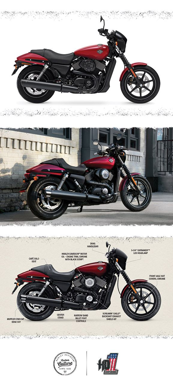 A sleek and nimble package with an ever-growing collection of custom parts and accessories to help make it your own. | 2016 Harley-Davidson Street 750
