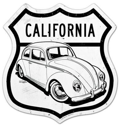 Custom metal street sign featuring a VW Beetle by SIN Customs artist Ryan Curtis