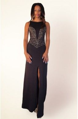 Scoop Beaded Back and Front Sleeveless Dress - $125 - Exclusively designed by Joan Dellavalle.