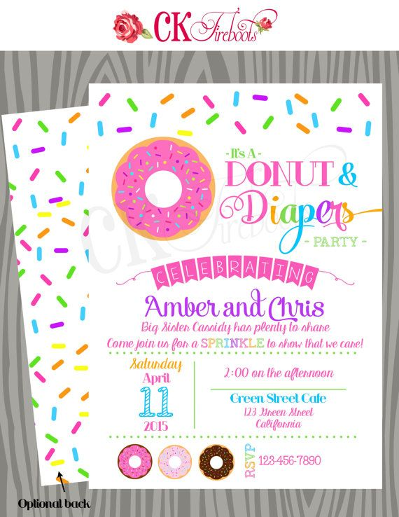 Donuts and Diapers Sprinkle Baby Shower Invite by ckfireboots