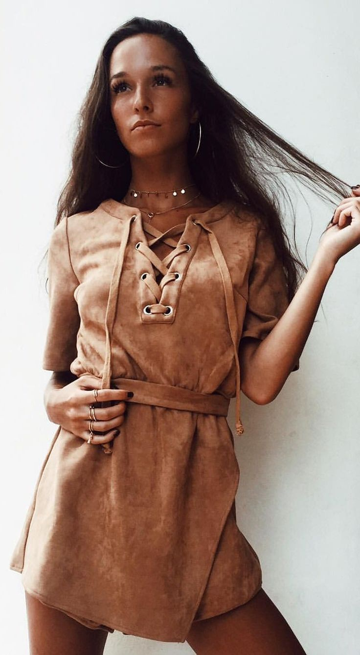 #spring #outfits Camel Suede Lace-up Monte Carlo Playsuit 🙌🏽