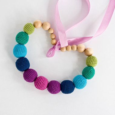 Deep Rainbow Nursing Necklace -  This colorful nursing necklace provides a lot of joy and cheer! Wearing a mommy necklaces and being a mom make fantastically awesome pair! It is a simple way to elevate the everyday mommy-combo of jeans and t-shirt!