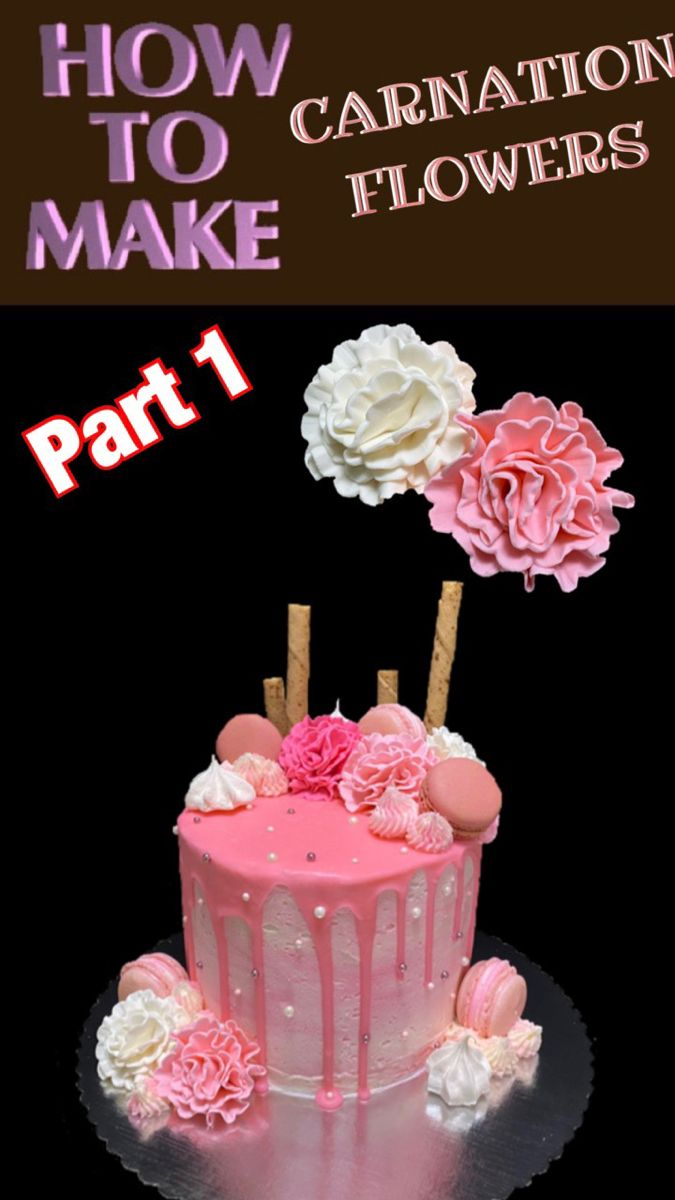 Carnation Flowers Cake Decorating Tutorial How To Make Flower Cake Decorations By Cake In 2020 Cookie Cake Decorations Cake Decorating Videos Flower Cake Decorations