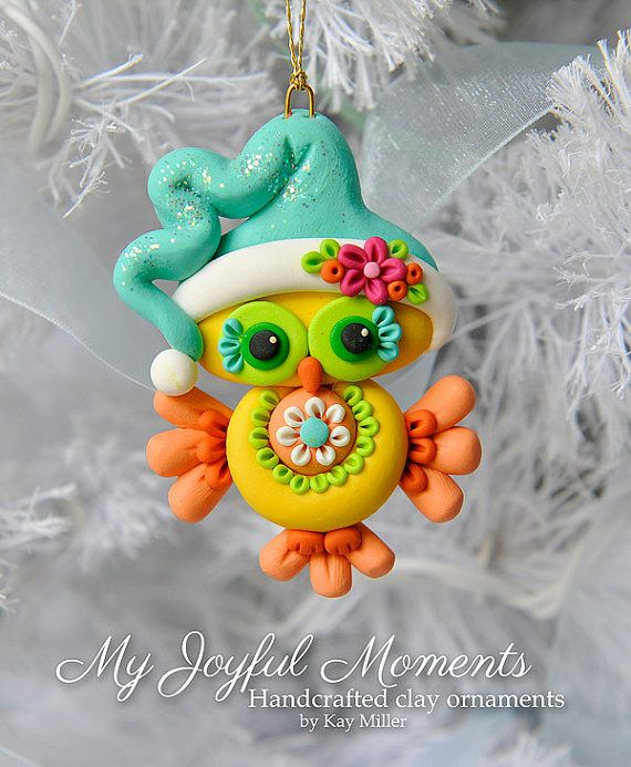 Handcrafted Polymer Clay Owl Ornament by Kay Miller on Etsy.