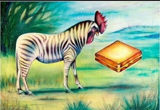 What's funnier than a chicken/zebra hybrid about to eat a grilled cheese.