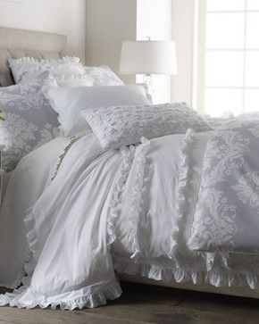 SERENA & LILY White Ruffle Bed Linens King Damask Duvet Cover, 106 x 94 traditional duvet covers