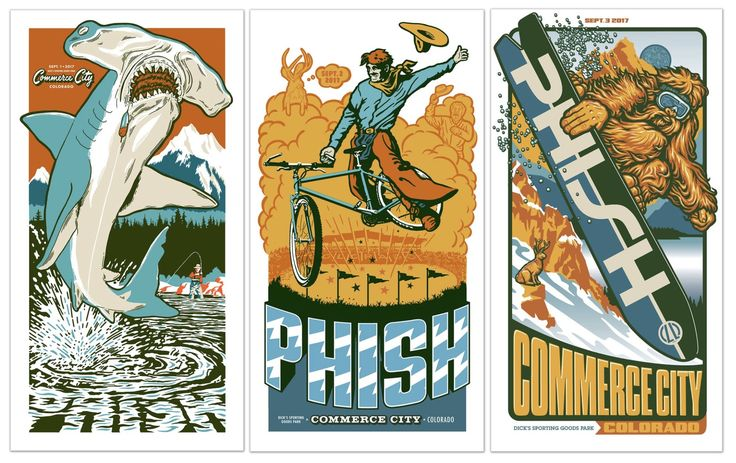 9/1,2,3 @ Dick's Sporting Goods Park. Commerce City, CO. One poster per night (edition of 1,000 per night) by @AmesBros.