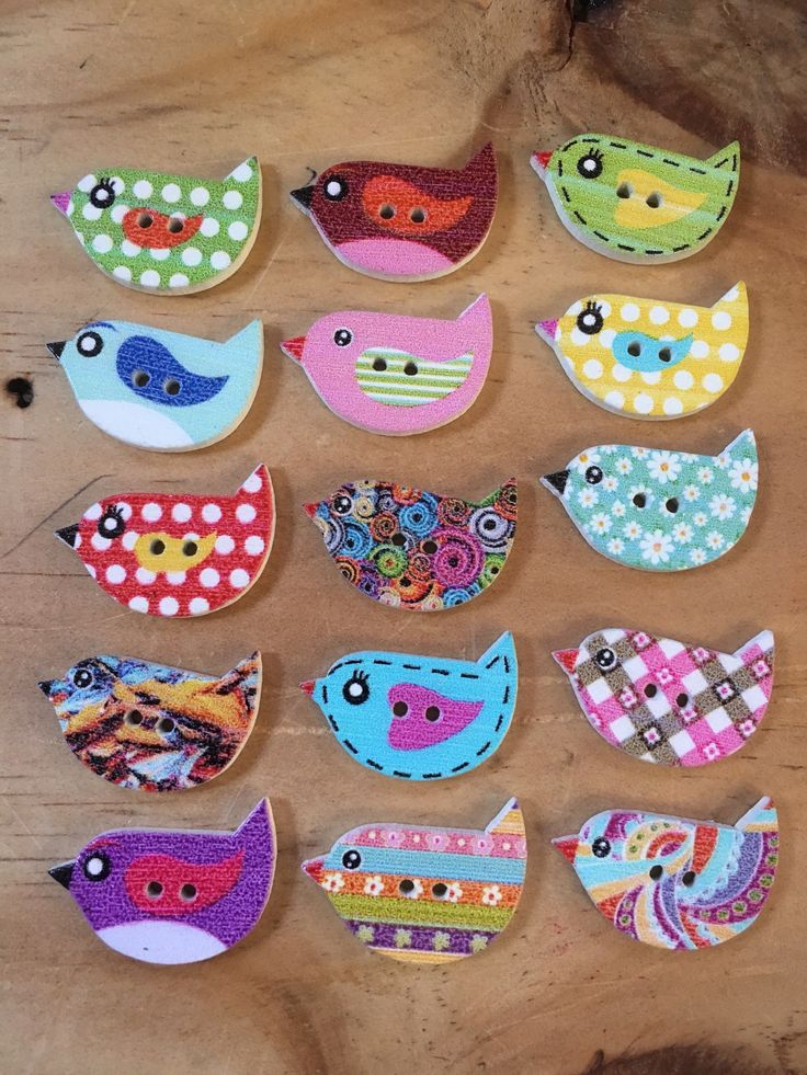 A personal favourite from my Etsy shop https://www.etsy.com/au/listing/546953349/mixed-coloured-little-birds-shape-wooden