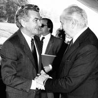 Prime Minister Bob Hawke meets Mikhail Gorbachev, Politburo member of the Soviet Union, in Geneva, Switzerland in June 1983. National Archives of Aust.