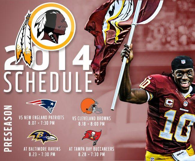 River City Redskins: 2014 Redskins Schedule #HTTR