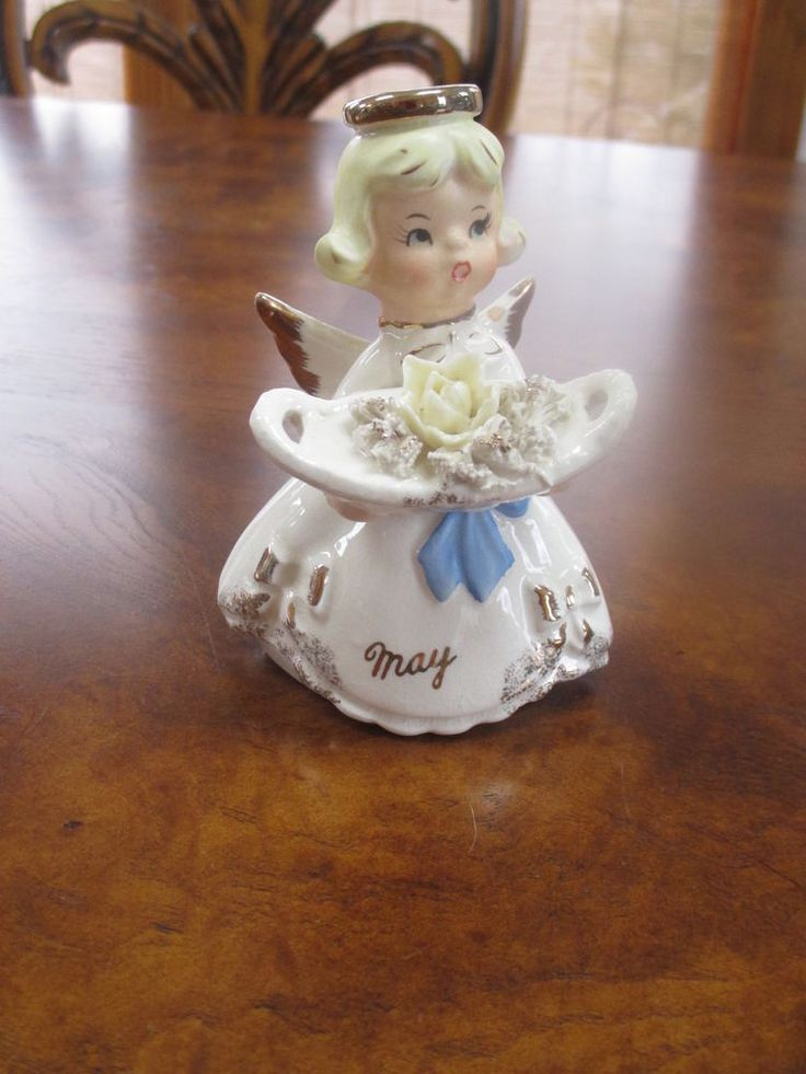Vintage Japan Mid Century May Birthday Angel w flower Halo & Blue Sash | Collectibles, Decorative Collectibles, Figurines | eBay!