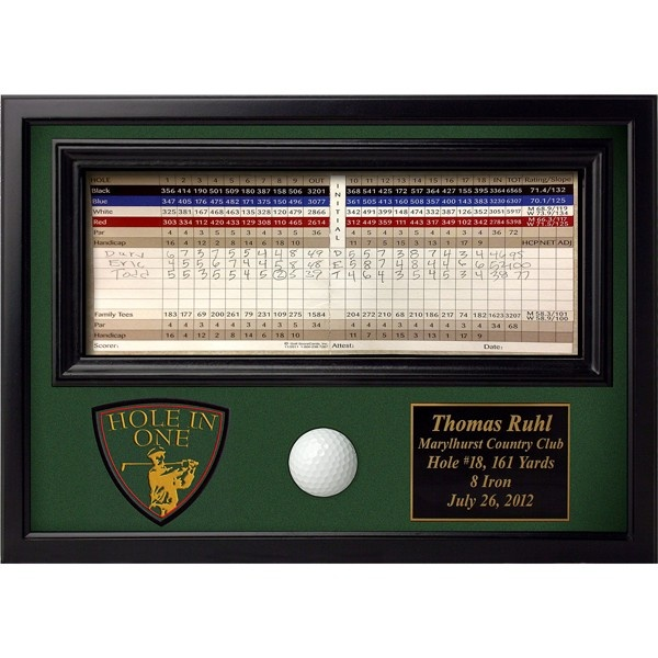 Northwest Gifts - Personalized Hole in One Display with Crest, $59.95 (http://northwestgifts.com/personalized-hole-in-one-display-with-crest/)