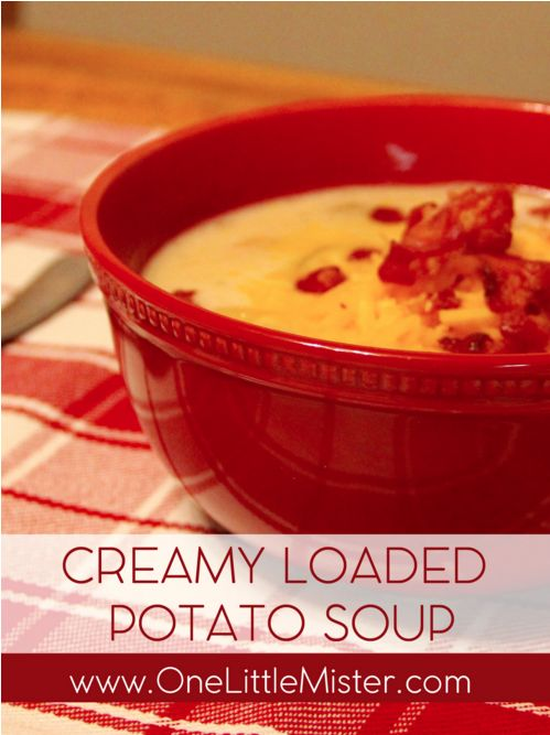 Creamy Loaded Potato Soup Recipe: On these cold nights nothing tastes better then a delicious, warm soup. Have the whole family join in on the cooking by letting them each add their own assortment of toppings like parsley, cheese or bacon! Visit myrecipes.com for the full recipe and many more favorites.