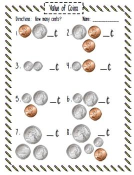Value of Coins with Counting Coin Grids - Carol Redmond - TeachersPayTeachers.com