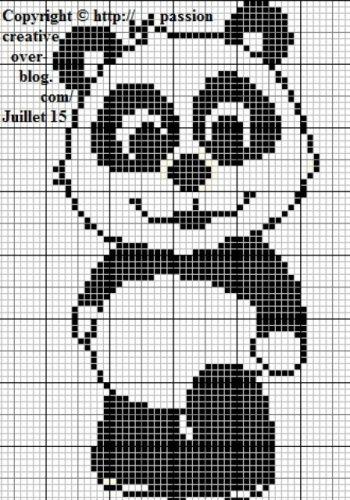 Grille gratuite point de croix : Panda Debout