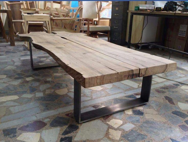13 best table bois et acier images on pinterest. Black Bedroom Furniture Sets. Home Design Ideas