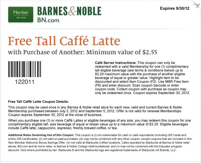 Get Free Tall coffee Latte with Purchase of another Use Barnes and Noble Coupon