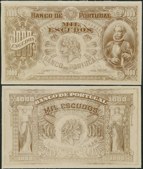 Banco de Portugal, obverse and reverse printers archival photograph for 1000 escudos, ND (1920), black and white, de Camoes at right, value at left and each corner, arms at top centre, ships at low left and right, reverse with allegorical women at left and right