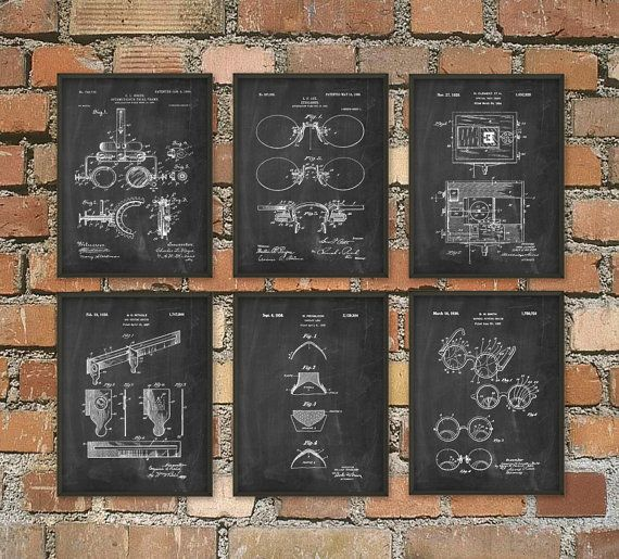 Optometry Patent Print Set Of 6 - Optometrist Patent - Optician Wall Art Design - Eye Test - Spectacles - Optometry - Ophthalmologist