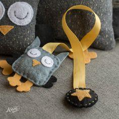 Marque-pages hibou en ruban et feutrine ouaté gris et jaune - Nemgraphisme.com