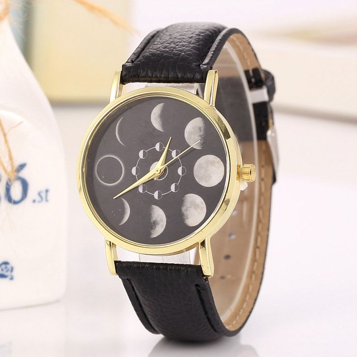 Romantic Women's Solar Moon Phase Lunar Eclipse Leather Watch Quartz Watch Sweet Gift for Her online - NewChic
